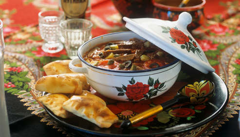 Beef stew with pierogi (Russia)  (Not available in CZ,SK)